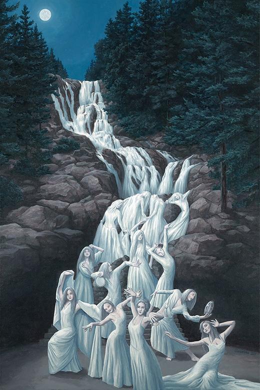 thác nước và cô gái