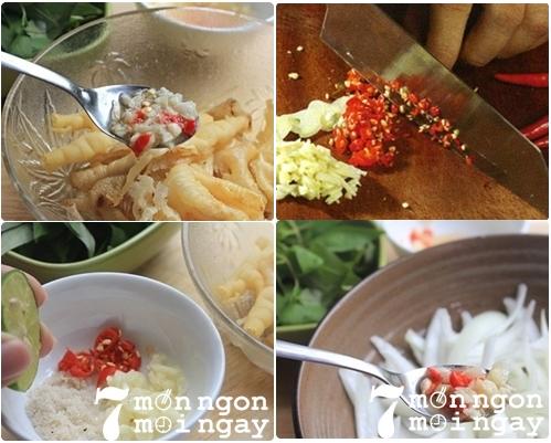 Trộn nguyên liệu món gỏi chân gà rút xương - Thực phẩm An Tâm